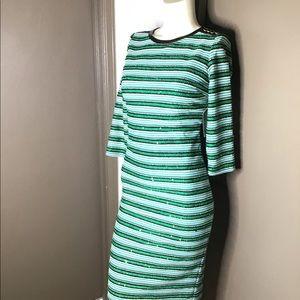 Eva Mendes Green Sequin Striped Dress XS NWT
